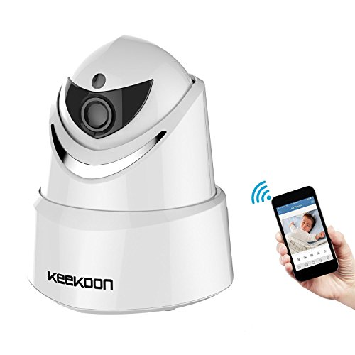 Keekoon 1080P Wireless/Wired IP Camera ,Baby Monitor with Two-Way Talk & Pan/Tilt & Night Vision[White-005]