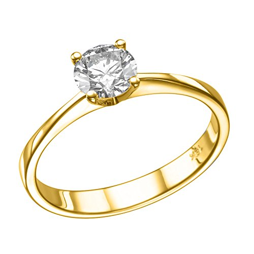 NDSTORE Moissanite Forever One Engagement Ring in 14k Gold 5.00MM 2/5 CT D-E-F VVS (Equivalent 1/2 CT Diamond Weight)