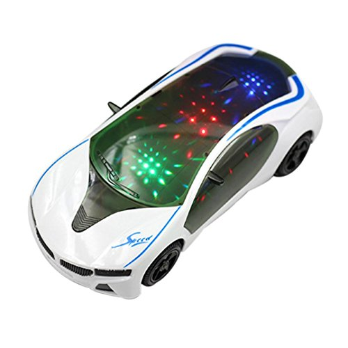 Rokment 3D Music Lighting Super Car Children's Electric Toy Car 3X5AA batteries Operated Toy Vehicles -Kids Boys Girls Gift (A)