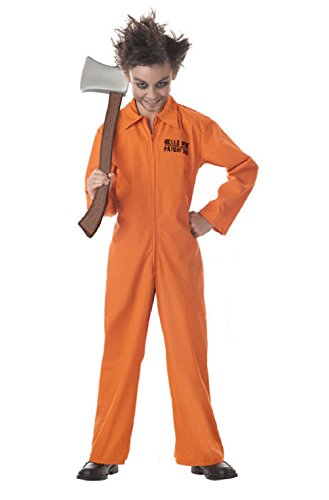 Psychopath Prison Jail Jumpsuit Child (Halloween Costumes For Guys With Goatees)
