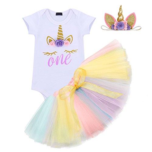 3PCS Toddler Baby Girls Unicorn Outfit One Mermaid Romper Top+Tutu Skirt + Headband Summer Clothes Set #1 Purple