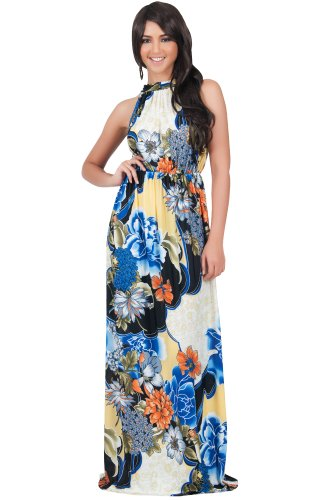 KOH KOH Petite Womens Long Summer Flowy Sexy Halter Neck Sleeveless Casual Floral Print Printed Beach Hawaiian Spring Boho Gown Gowns Maxi Dress Dresses, Blue Black and White XS 2-4 (1)