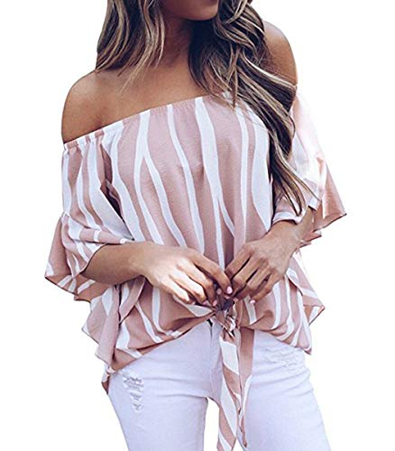 Women's Cutout Off Shoulder Chiffon Blouses Sexy Tops Casual Ruffle Shirt Pink M ()