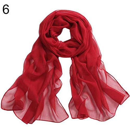 Softmusic Women Scarf Soft Silky Solid Color Long Chiffon Scarf Wrap Shawl Muffler Red