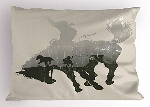 Western Pillow Sham by Lunarable, Western Theme Cowboy Chasing Wild Horse in the Desert Rodeo Cowboy Theme, Decorative Standard King Size Printed Pillowcase, 36 X 20 Inches, Light Grey Dark (Wild Horses Standard Sham)