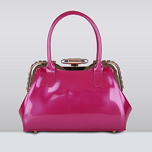 MIMI KING Las Bolsas De Asas Del Hombro Del Cuero De Patente Para Las Mujeres Que Igualan Bolsos De La Moda Del Bloqueo Del Metal En 4 Colores,Blue Rose