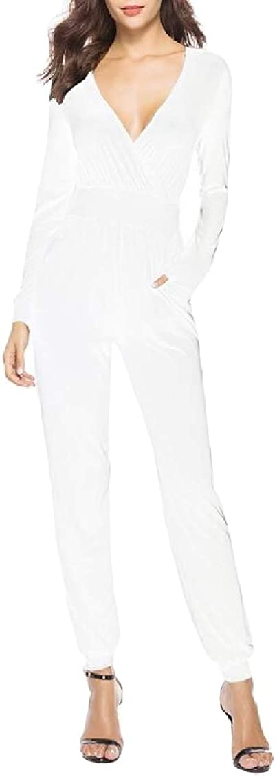Sweatwater Womens Long-Sleeve Classic V Neck Jogger Trousers Jumpsuit