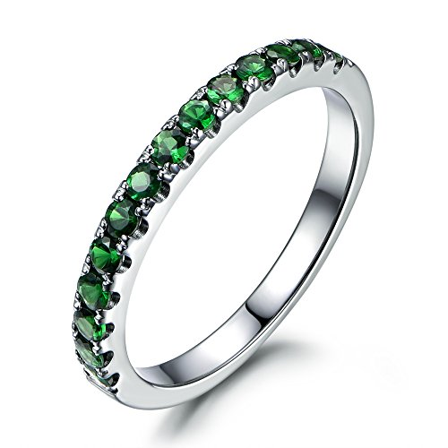 Stackable Round Cut Green Tsavorite Wedding Band,14K White Gold Half Eternity Anniversary Stacking Ring