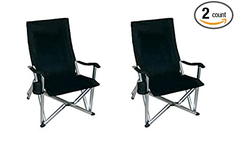 TWO PACK World Outdoor Products NEW RUSTPROOF DESIGN Luxury BLACK  Lightweight ALUMINUM Folding LAWN CHAIR Featuring