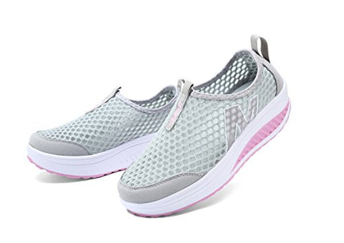 TooTa Womens Mesh Breathable Casual Slip-On Platform Fitness Work Out Sneaker Gray JhrYmlQab