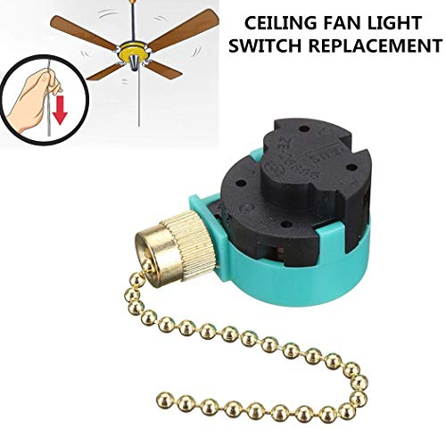 Hunter Ceiling Fan Switch 3 Speed 4 Wire Zing Ear ZE-268S6 Pull Chain Switch Control Replacement 3 Speed Control Switch Ceiling Fans, Wall Lamps, Cabinet Light (Brass Pull Chain) -  RICHARDSON ANOINTING HANDS INC, 268S6-BRASS-6
