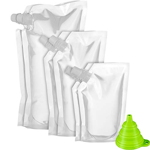 (Shappy Plastic Liquor Pouch Drinks Flasks Concealable Drinking Flasks 230 ml, 420 ml and 1000 ml with Funnel (6 Pieces Flask + 1 Piece Funnel))
