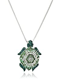Sterling Silver Green Turtle with Swarovski Elements Pendant Necklace