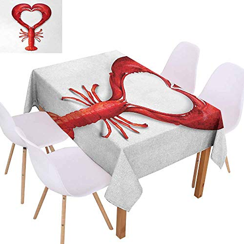 UHOO2018 Sea Animals,Durable Tablecloth,A Boiled Lobster Shaped as A Heart Symbol Seafood Love Valentines Restaurant Menu Art,for Family Gathering Party,Red,70