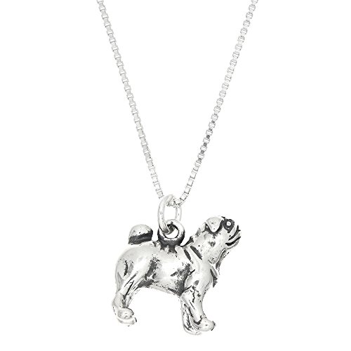 Sterling Silver Oxidized Chinese Pug Dog Charm with Box Chain Necklace (16 Inches) (Sterling Silver Pug)