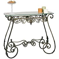 Bronze Rectangular Scrolled Metal Console Table