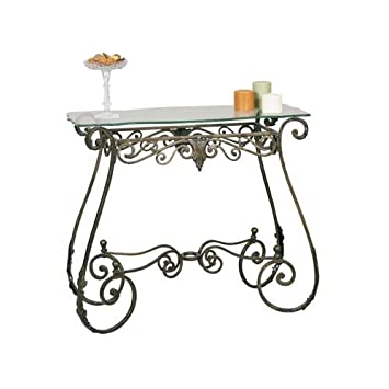 bronze rectangular scrolled metal console table - Metal Console Table