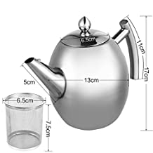 Tea Pot, Satin Polish Stainless Steel Insulated Teapot Coffee Tea and Coffee Drip Kettle pot with Lid, Teapot Coffee Pouring Pot with Tea Infuser Strainer, Mirror Finish, 1500ML