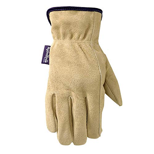 Wells Lamont Women's HydraHyde Slip-On Full Split Leather Work Gloves, Medium (1003M)