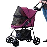 Pet Gear No-Zip Happy Trails Lite Pet Stroller for Cats Dogs - Zipperless Entry - Easy Fold with Removable Liner - Storage Basket + Cup Holder - Boysenberry