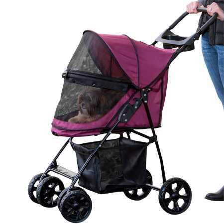 Pet Gear No-Zip Happy Trails Lite Pet Stroller for Cats/Dogs, Zipperless Entry, Easy Fold with Removable Liner, Storage Basket + Cup Holder, Boysenberry by Pet Gear
