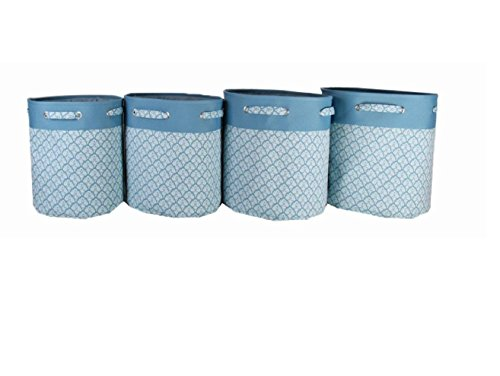 Signature Home 4-Piece Round Printed Canvas Storage Bin Set, Blue