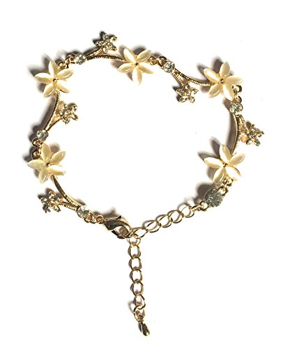 Glitz Fashion 18K Yellow Gold Plated White Crystal Stud Floral Bracelets valentine's Day Gifts -