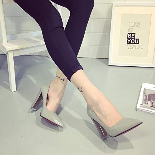 Thick With High Single Shoes 39 Heels heels Grey Autumn Fresh High Girl Yukun Big Autumn Small Pointed Red Female Wild wFqXxI