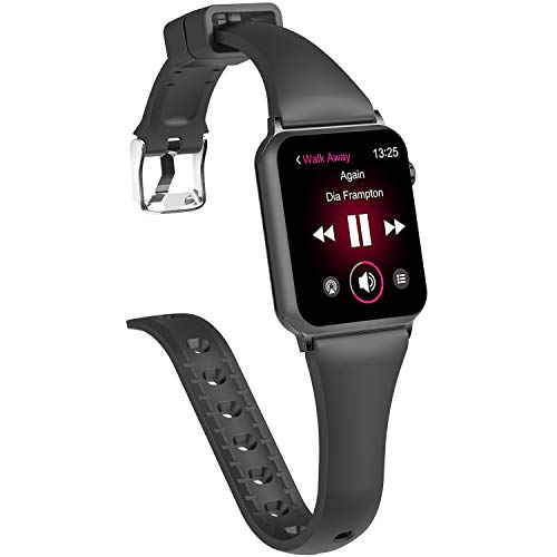 X4-Tech Compatible with Apple Watch Series 3 Band 38mm 42mm, Choose Color-Soft Silicone Fashion Classic Slim Sports Replacement Bands Compatible with iWatch Series 2/1, Sport, Nike+,Edition