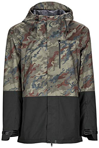 Bonfire Snowboarding Jacket - Bonfire Control Stretch Jacket - Men's Olive Camo/Black Small