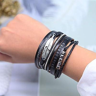 Boho Wrap Bracelet Leather Cuff Bracelet Bead Pearl Crystal Bracelet Tree of Life Boho Jewelry for Women
