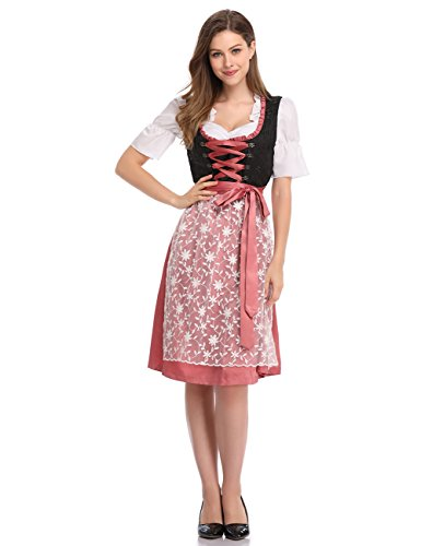 Clearlove Limited Traditional Dirndl Women Dresses Blouse Apron (Rosy, XXL) ()
