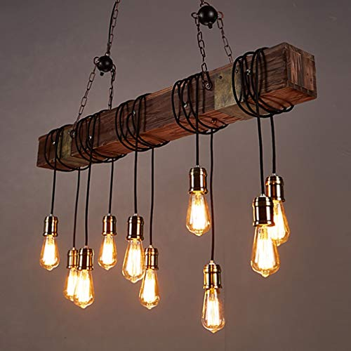 Industrial Wind Wood Strip Chandelier, Retro Solid Wood Ten Personalized Creative Lamps, Used in Bars | Restaurants | Bar | Cafe | Clothing Store
