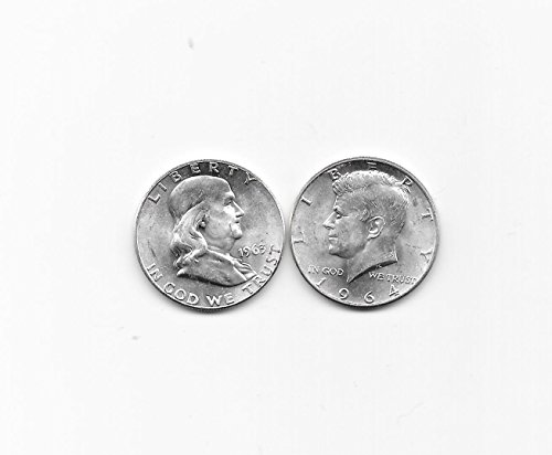 1963 & 1964 FRANKLIN & KENNEDY SILVER HALVES --- 2 CRISP & SHARP BU -- VERN'S CARD & COIN**Great Christmas & Gift Idea*** Choice (Crisp Sharp)