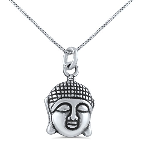 Sterling Silver Buddha Head Necklace (18