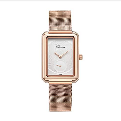 XueXw Ladies Watch Fashion Retro Rectangles Women's Watches Unique Design Rose Gold Mesh Belt Quartz Watch Waterproof Christmas Birthday Gift,White