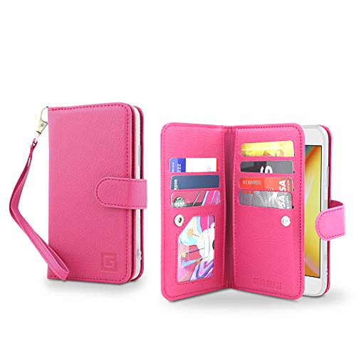 Dual Pocket Case - Gear Beast Flip Cover Dual Folio Case fits iPhone XR Wallet Case Slim Protective PU Leather Case 7 Slot Card Holder Including ID Holder 2 Inner Pockets Stand Feature Wristlet for Men and Women