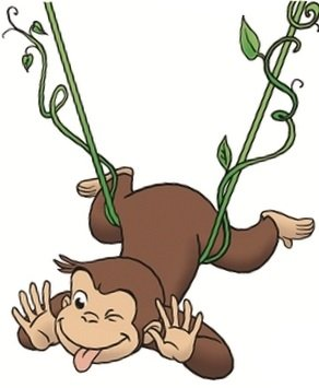 4 Inch Curious George Vine Monkey Animal Removable Peel Self Stick Adhesive Vinyl Decorative Wall Decal Sticker Art Kids Room Home Decor Girl Boy Children Bedroom Nursery 3 1/2 x 4 inches Tall