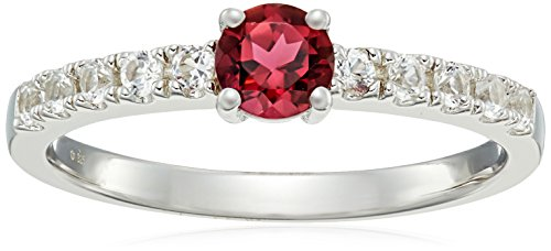 Sterling Silver Pink Tourmaline And Created White Sapphire Stackable Ring, Size 7 -