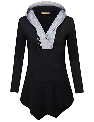 2017 Patch Block - Long Sleeve Tunics for Women, Miusey Ladies Casual Loose Fit Nice Cozy Zulily Tops Ribbed V Neck Plus Size Blouses Fashion 2017 Ultra-Soft Color Block Patchwork Hooded T Shirt Elegant Winter Black Xxl