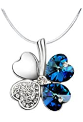 Pendant Four-Leaf Clover in Crystal on snake chain