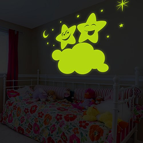 42' Star (( 63'' x 42'' ) Glowing Vinyl Wall Decal Twin Stars on Cloud / Glow in the Dark Sticker / Happy Star Luminescent Mural Kids, Baby Room + Free Decal Gift!)
