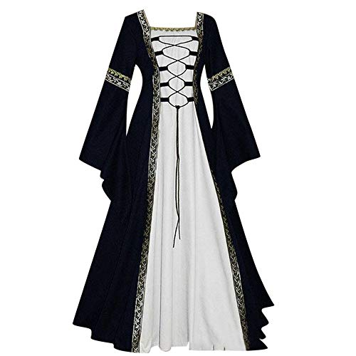 Aniywn Plus Size Women Medieval Dress Lace Up Vintage Floor Length Cosplay Retro Long Dress Gothic Black (Best Dress Websites For Juniors)
