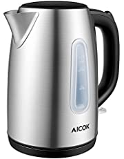 Kettle, Aicok Electric Kettle Fast Boil 1.7 L 2200W Kettle, Brushed Stainless Kettle, Cordless Kettle with Auto Shut-Off and Boil-Dry Protection, Silver [Energy Class A]
