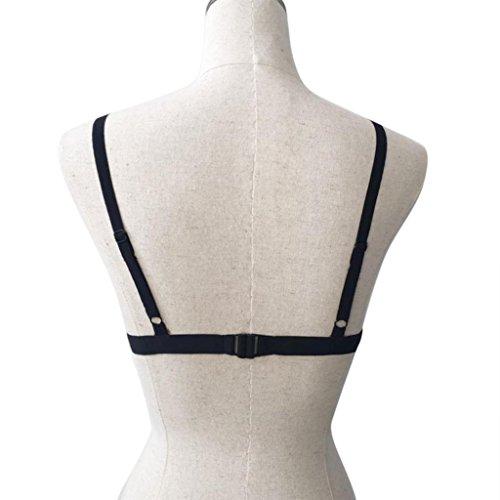 Rawdah vale la pena tener Bralette bustier de encaje floral de las mujeres Camisa corta Sheer Triángulo Sujetador Negro
