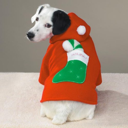 Casual Canine Holiday Hooded Fleece Jacket Med