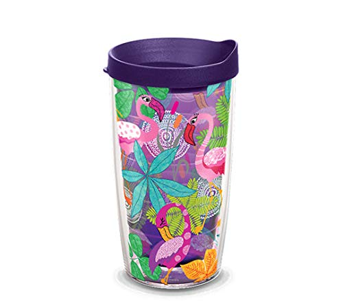 Tervis 1308328 Flamingo Fun Insulated Tumbler with Wrap and Royal Purple Lid, 16oz, Amethyst
