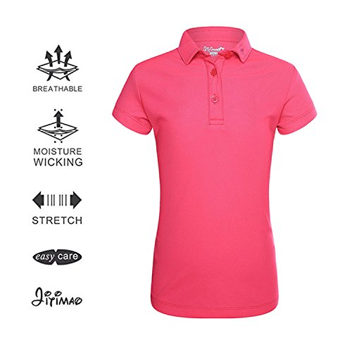 Girls Golf Dri Fit Polo Shirt for Age 5-15, JITIMAO Breathable Performance Short Sleeves T-Shirt Slim Fit,Dark Pink,Large / 9-13