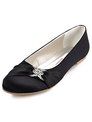 ElegantPark EP2006 Women Closed Rhinestones Comfort Flats Pleated Satin Wedding Bridal Shoes Black US 9