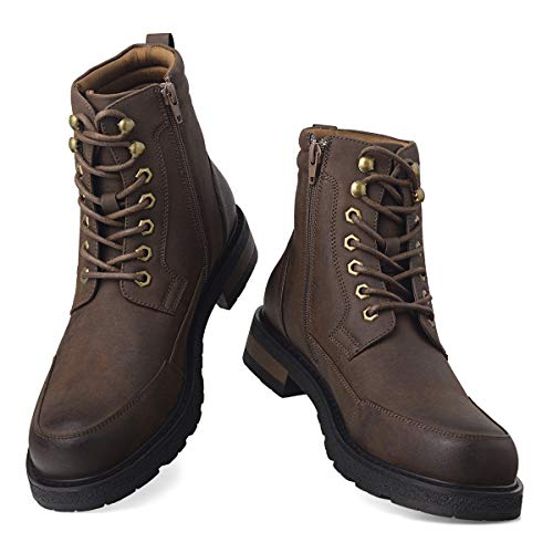 GM GOLAIMAN Men's Motorcycle TAFT Dress Boots - Lace Up Zip Boots Military Tactical Work Combat Hiking Botas Invierno Hombre 13 M US, 5 Brown